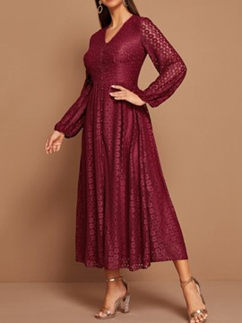 Ericdress Lace Mid-Calf Long Sleeve Winter Single-Breasted Women's Dress