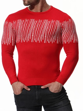 Ericdress Round Neck Patchwork Casual Men's Sweater