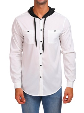 Ericdress Patchwork Hooded Color Block Slim Single-Breasted Men's Shirt