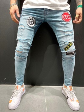 Ericdress Pencil Letter Hole Casual Style Mid Waist Men's Jeans