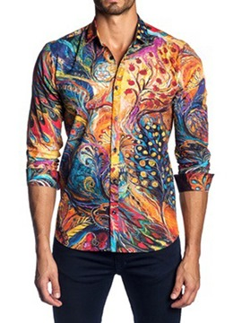 Ericdress Fashion Print Lapel Single-Breasted Men's Shirt
