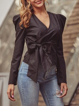 Ericdress V-Neck Regular Plain Short Puff Long Sleeve Blouse