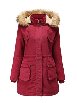 Ericdress Patchwork Zipper Thick Mid-Length Cotton Padded Jacket