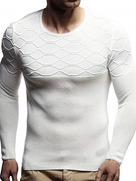 Ericdress Plain Round Neck Casual Slim Men's Sweater