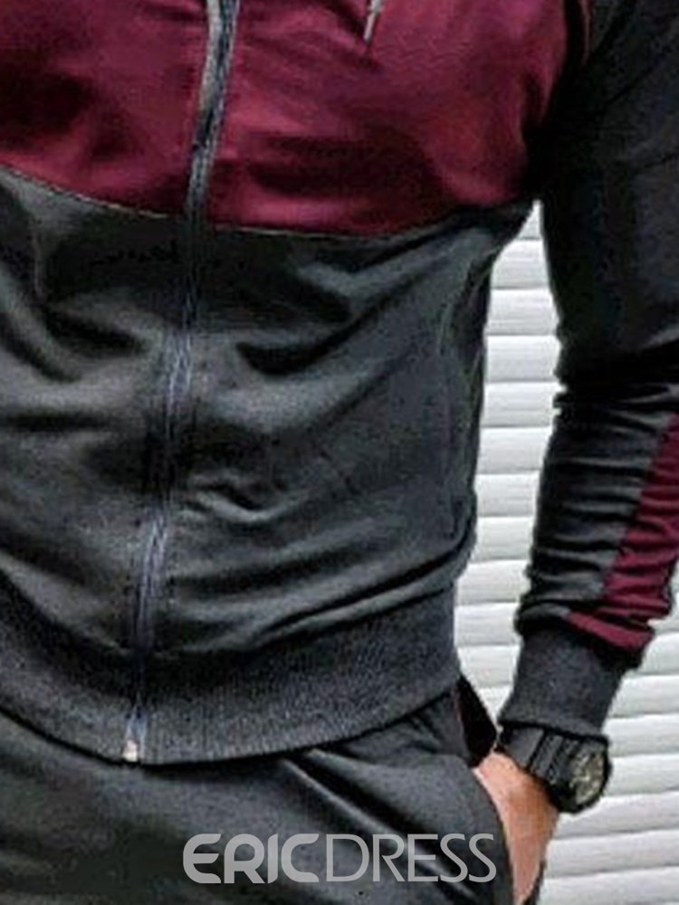 Ericdress Hoodie Style Casual Patchwork Men's Outfit