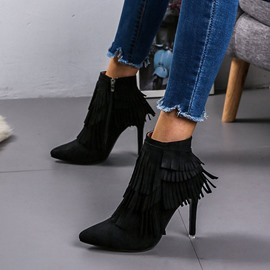 Ericdress Side Zipper Pointed Toe Stiletto Heel Boots