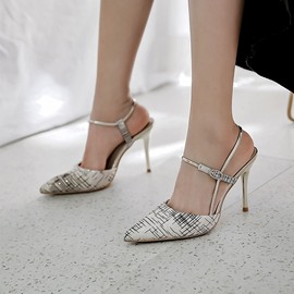 Ericdress Ankle Strap Pointed Toe Stiletto Heel Color Block Sandals
