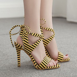Ericdress Lace-Up Open Toe Casual Stiletto Heel Sandals
