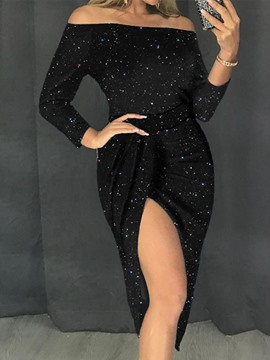Ericdress Mid-Calf Nine Points Sleeve Sequins Women's Bodycon Sexy Dress