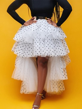 Ericdress Asymmetrical Polka Dots Floor-Length Fashion Skirt