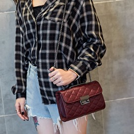 ericdress plaid chain pu rectangular bandoleras
