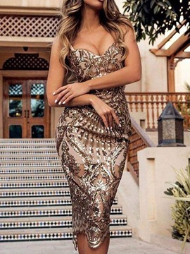 Ericdress Sleeveless Mid-Calf Sequins Mid Waist Women's Dress