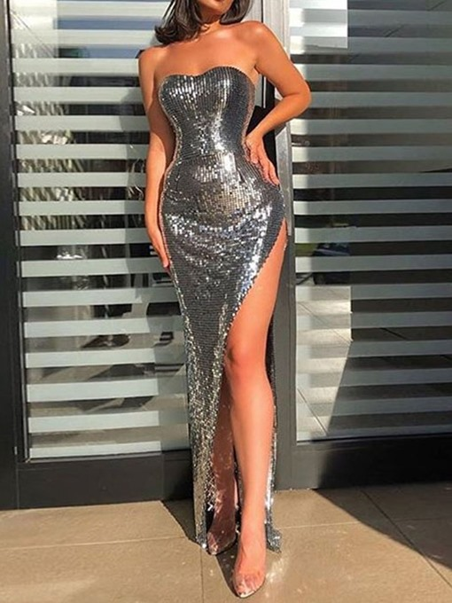 Ericdress Sequins Floor-Length Sleeveless Sexy Plain Women's Dress