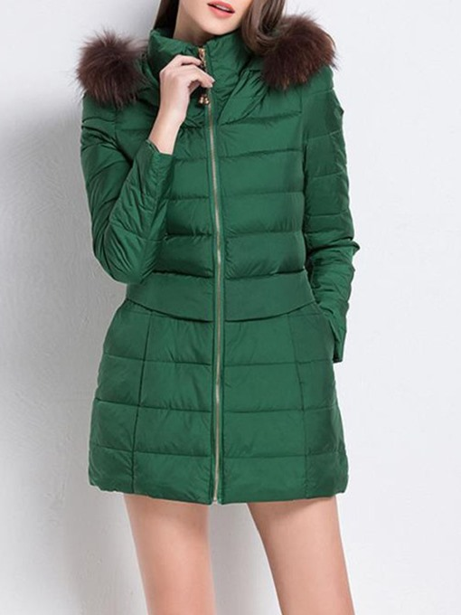 Ericdress Zipper A Line Thick Mid-Length Cotton Padded Jacket
