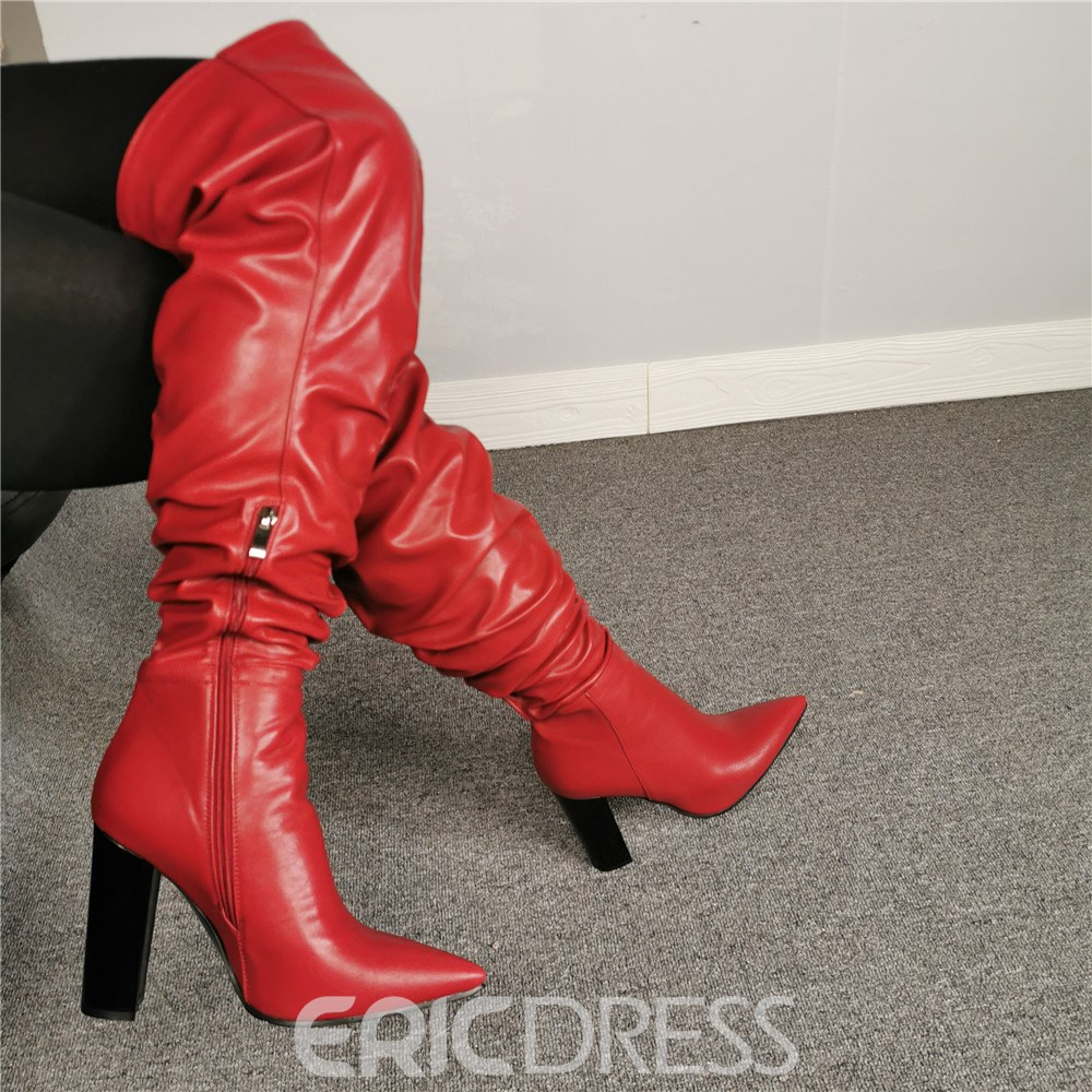 Ericdress Pointed Toe Side Zipper Knee High Boots