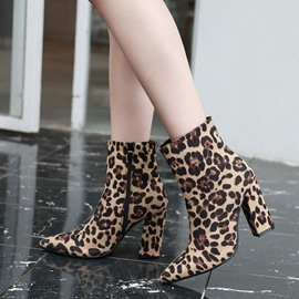 Ericdress Chunky Heel Leopard Side Zipper Sexy Ankle Boots