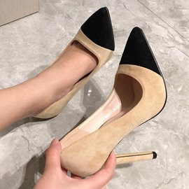 Ericdress Slip-On Pointed Toe Stiletto Heel Color Block Pumps