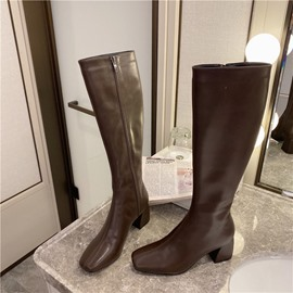 Ericdress Side Zipper Plain Square Toe Thread Boots