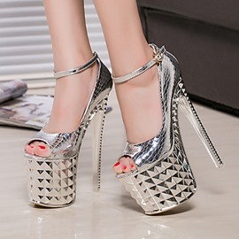 Ericdress Thread Line-Style Buckle Plain Stiletto Sandals