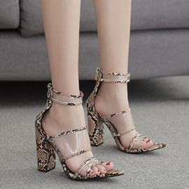 Ericdress Chunky Heel Zipper Peep Toe Western Sandals