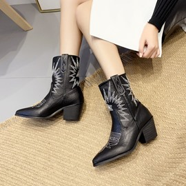 Ericdress Slip-On Color Block Pointed Toe Ankle Boots