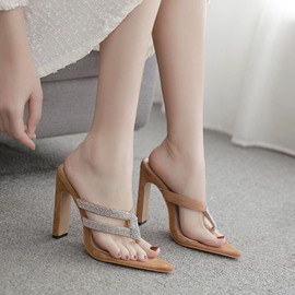 Ericdress Chunky Heel Thong Hollow Casual Slippers