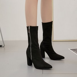 Ericdress Plain Chunky Heel Side Zipper Ankle Boots