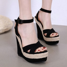 Ericdress Heel Line-Style Buckle Ankle Strap Platform Wedge Sandals