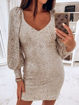Ericdress Above Knee Long Sleeve Sequins Plain Women's Bodycon Dress