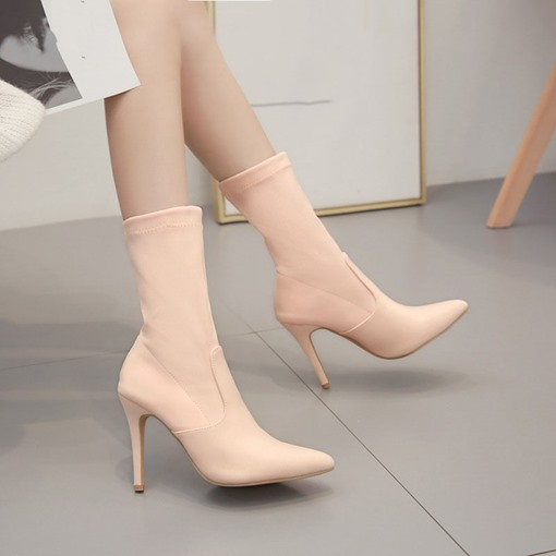 Ericdress Stiletto Heel Plain Slip-On PU Boots