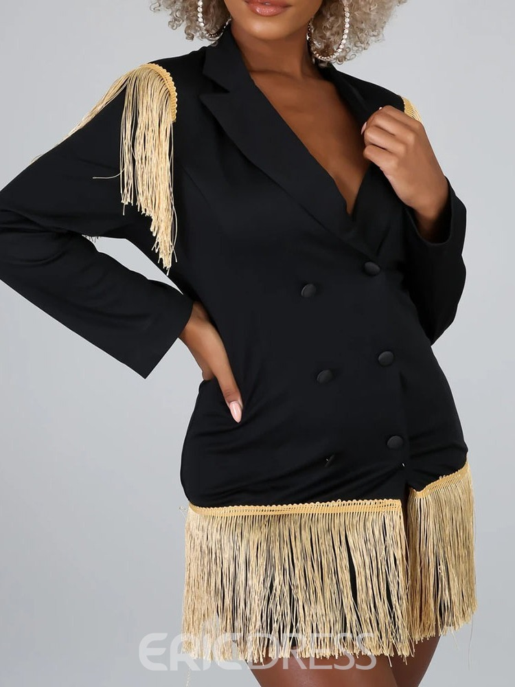 Ericdress Plain Double-Breasted Long Sleeve Standard Casual Blazer