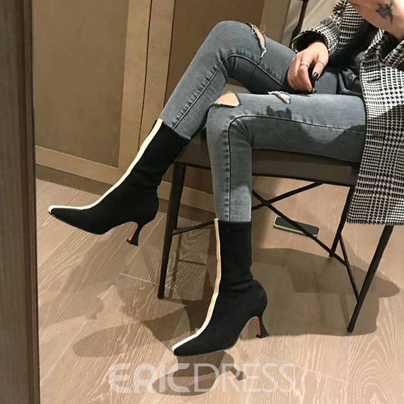 Ericdress Color Block Slip-On Square Toe High Heel Boots