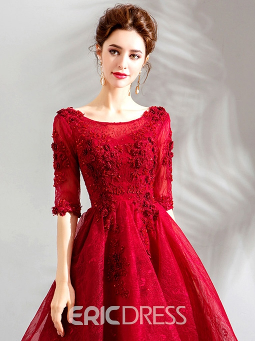 Ericdress Half Sleeves Lace Scoop A-Line Graduation Cocktail Dress