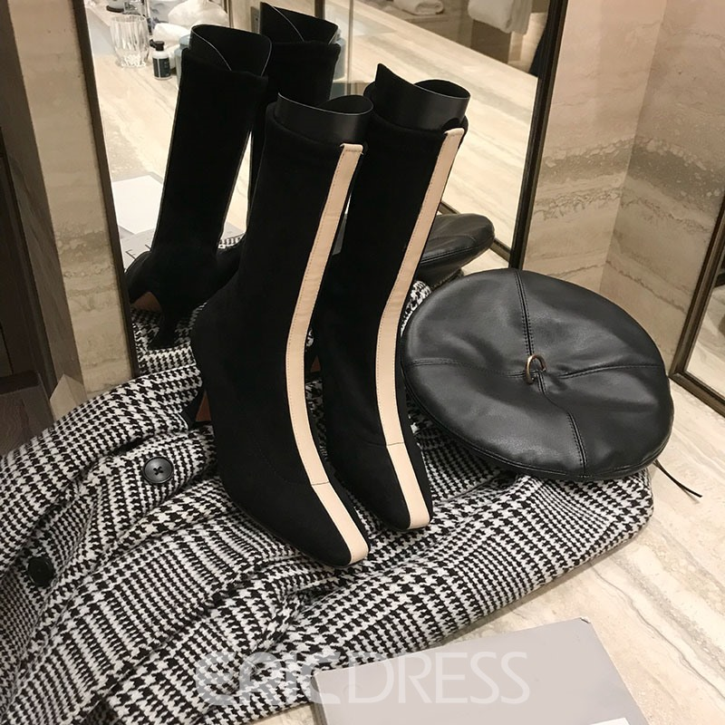 Ericdress Square Toe Color Block Slip-On High Heel Boots