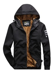 Ericdress Hooded Letter Print Zipper Casual Mens Down Jacket