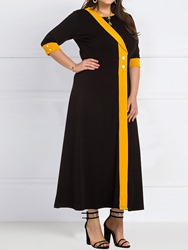 Ericdress Plus Size Sleeve Mid-Calf Color Block Standard-Waist Womens Dress фото