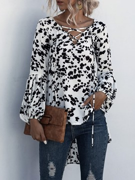 Ericdress Print V-Neck Lantern Sleeve Long Sleeve Mid-Length Blouse
