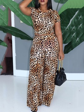 Ericdress Casual Leopard Pullover Short Two Piece Sets