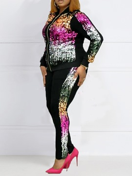 Ericdress Plus Size Sequins Casual Two Piece Sets