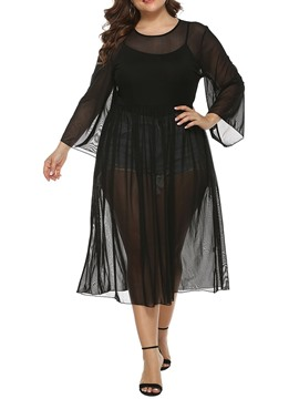 Ericdress Nine Points Sleeve Round Neck See-Through Plus Size Women's Dress