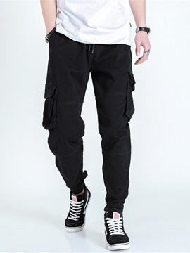 Ericdress Plain Color Overall Pocket Casual Mid Waist Men's Casual Pants