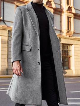 Ericdress Long Style Notched Lapel Plain England A Line Men's Coat