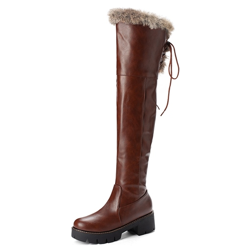 Ericdress Side Zipper Plain Round Toe Women's Knee High Snow Boots