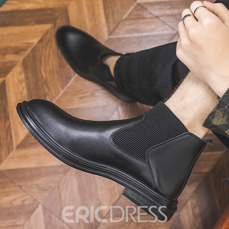 Ericdress Round Toe Patchwork Slip-On PU Boots