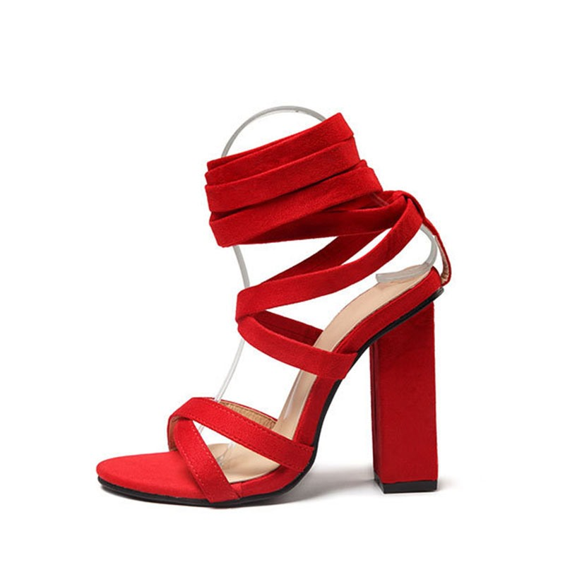 Ericdress Lace-Up Ankle Strap Open Toe Plain Chunky Sandals