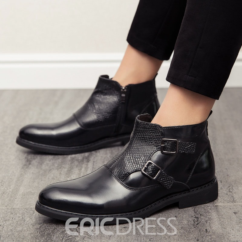 Ericdress Pointed Toe Side Zipper Patchwork PU Boots
