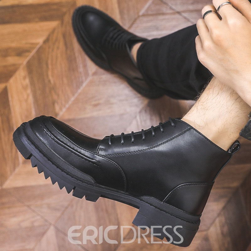 Ericdress Plain Round Toe Lace-Up Front Casual Boots