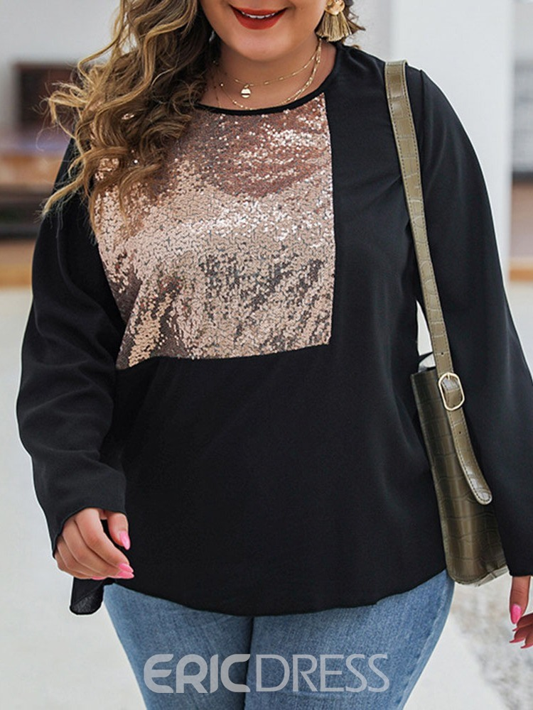 ericdress plus size long sleeve normales beiläufiges loses Standardt-shirt