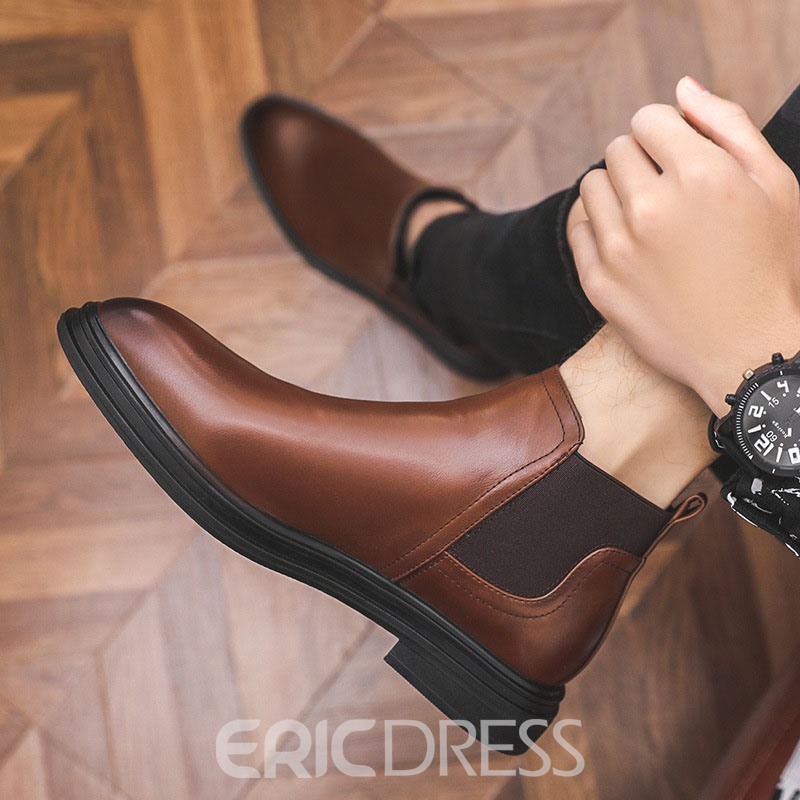 Ericdress Pointed Toe Patchwork Slip-On PU Boots