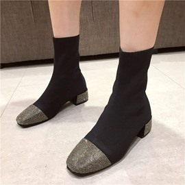 Ericdress Color Block Slip-On Square Toe PU Ankle Boots